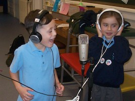 Boy and Girl with microphone